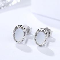 SIlver Elliptical earrings 1272
