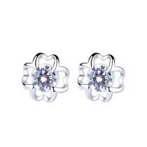 silver flower earring 591