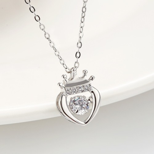 silver crown heart pendant 873