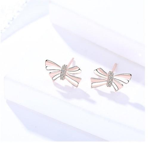 Silver bow earrings 318