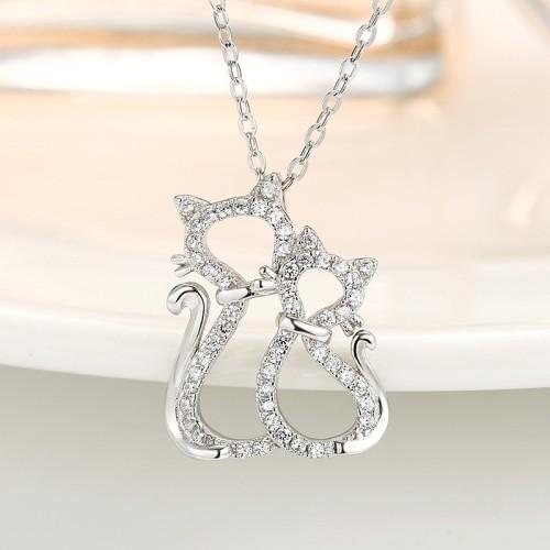 silver cat pendant 816