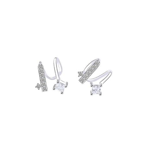 Silver spiral ear clip E265