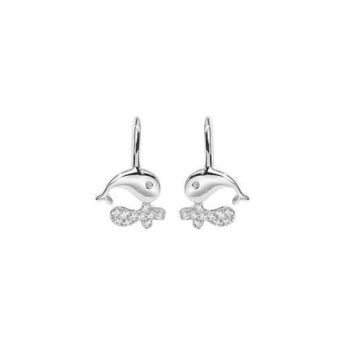 Silver whale earrings 168