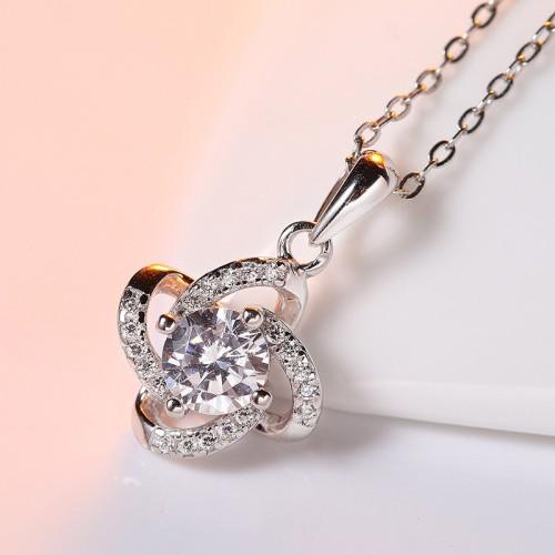 silver flower pendant 793