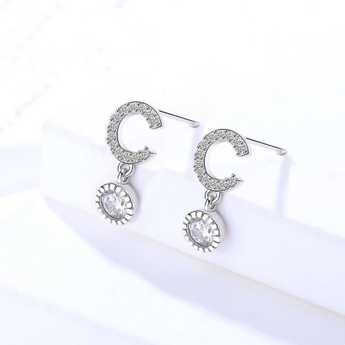 Silver letter C earrings 293