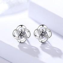 silver flower earring 1126