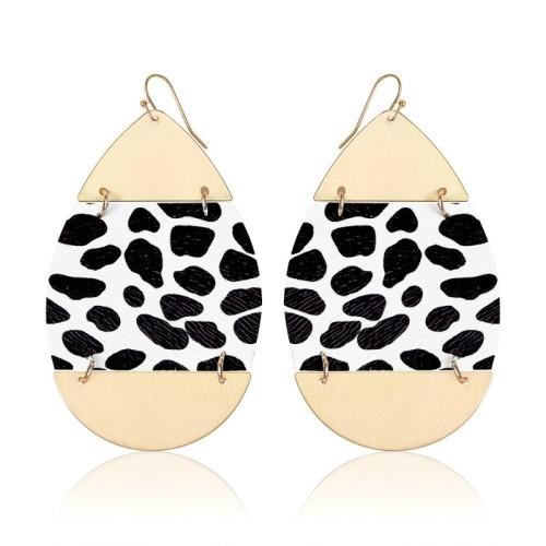 Leopard leather earrings ME68557-1