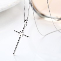 Sterling Silver cross Sweater Necklace MLA900