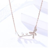 Silver bow necklace MLA996-1