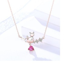Silver cat love necklace MLA1044-2