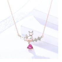 Silver cat love necklace MLA1044-2