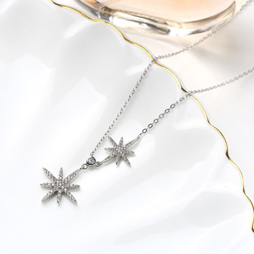 Sterling Silver star Sweater Necklace MLA899