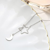 Sterling Silver moon star Sweater Necklace MLA914