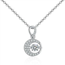 Silver round necklace 28704