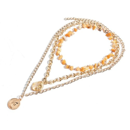 Stone shell necklace MN70160-1