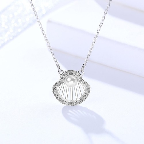 Silver shell necklace MLA1046-2