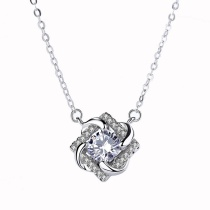 Silver flower necklace MLA1037