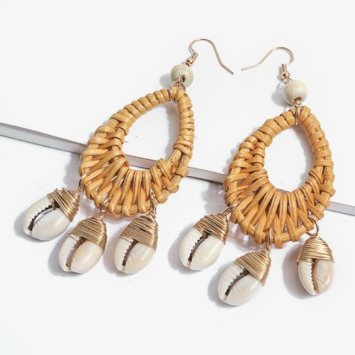 Rattan shell earrings ME68550-1