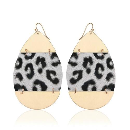 Leopard leather earrings ME68557-2