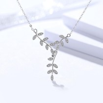 silver Leaves necklace MLA967