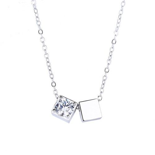 Silver Square necklace MLA1118