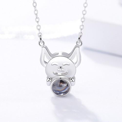 silver pig necklace MLA323c