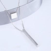 silver Double geometric necklace MLA729