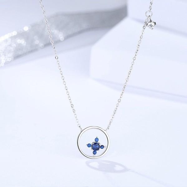 Silver round necklace MLA1122