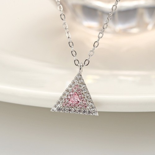 silver Triangle necklace MLA797a