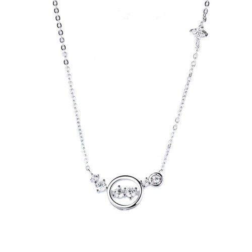 Silver Round diamond necklace MLA1115