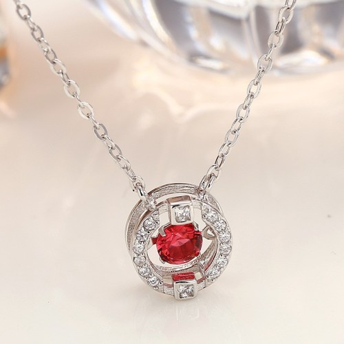 silver round necklace MLA830a