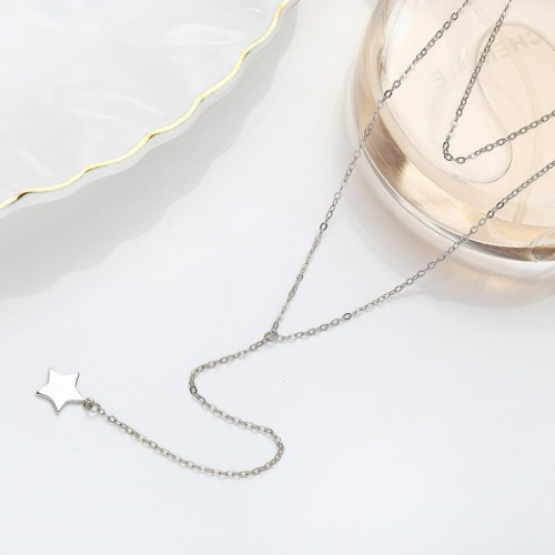 Sterling Silver Star Sweater Necklace MLA915
