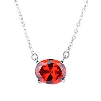 Silver red necklace MLA1096