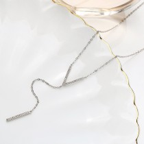 Sterling Silver V word Sweater Necklace MLA901