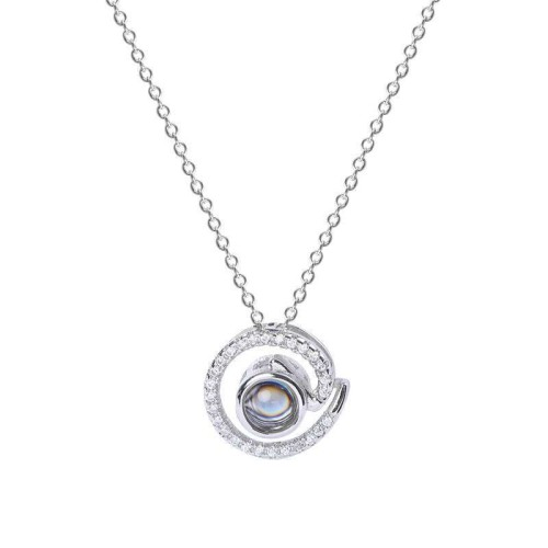 Silver round necklace MLA1057