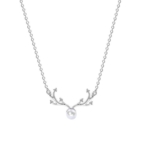 Silver antler pearl necklace MLA890