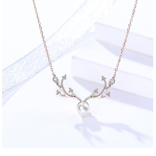 Silver antler pearl necklace MLA890-1