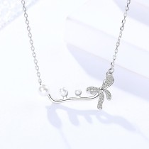 Silver bow necklace MLA996
