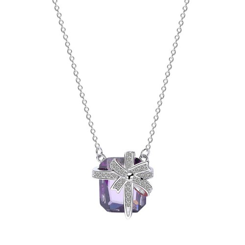 Silver square necklace MLA897