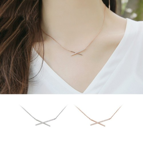 silver necklace MYA633(white)