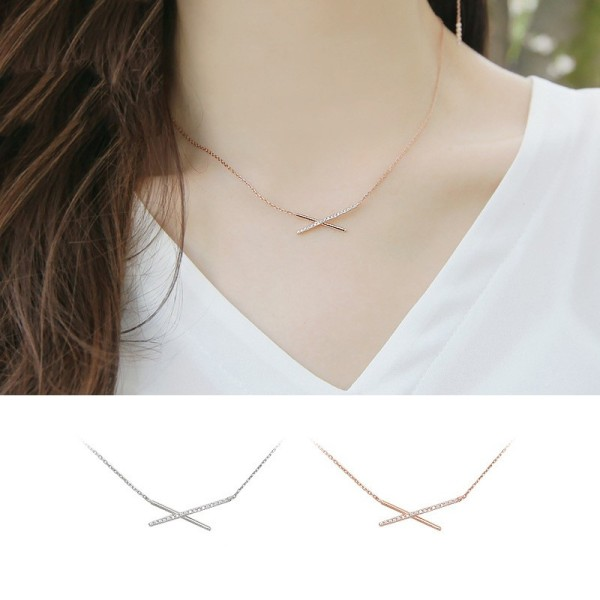 silver necklace MYA633(white)