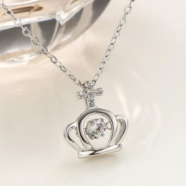 silver Crown necklace MLA835