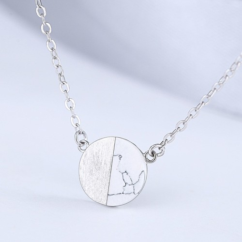 silver round necklace MLA927