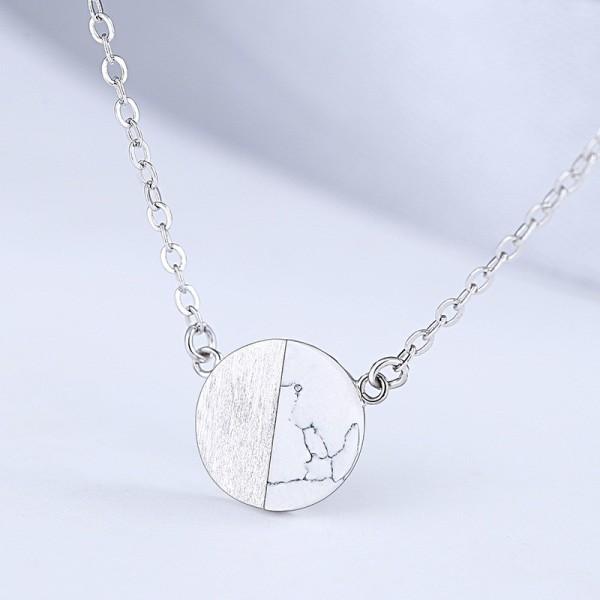 silver round necklace MLA927