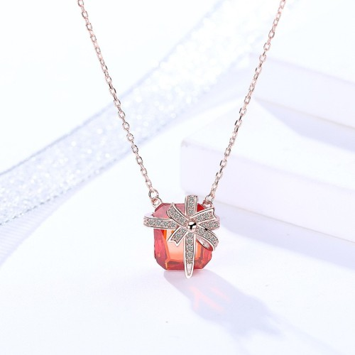 Silver square necklace MLA897-1