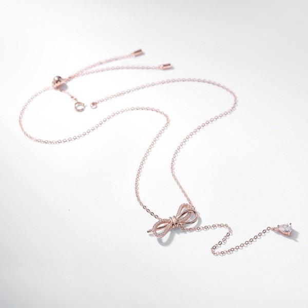 Silver bow necklace MLA312c