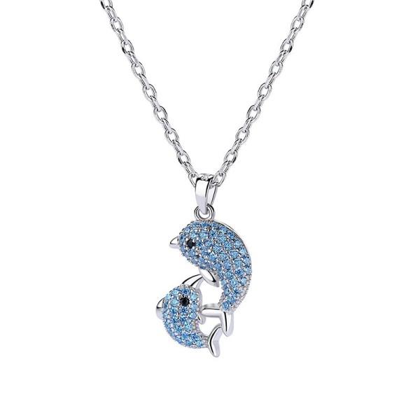 silver dolphin necklace MLA1352
