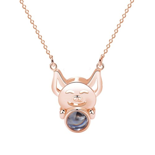 silver pig necklace MLA323b