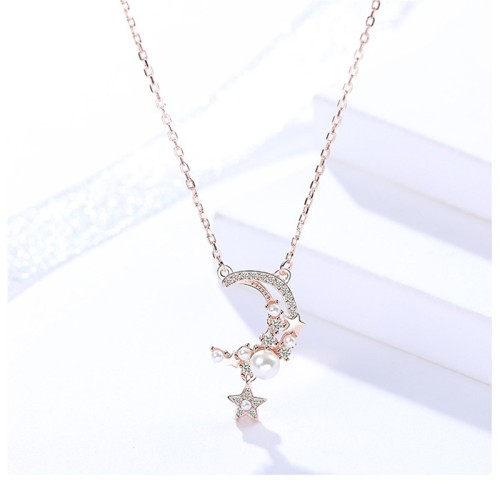 Silver star moon necklace MLA1048-2
