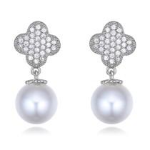 silver needles flower pearl earring 26394